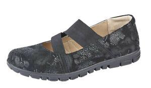 Wide X 3 élastiques Ladies velours 9 Womens Chaussures en cuir noir Eee Fit EqFwAC