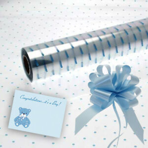 Blue Dot Cellophane Baby Boy Gift Wrap Baby With Free Pull Bow