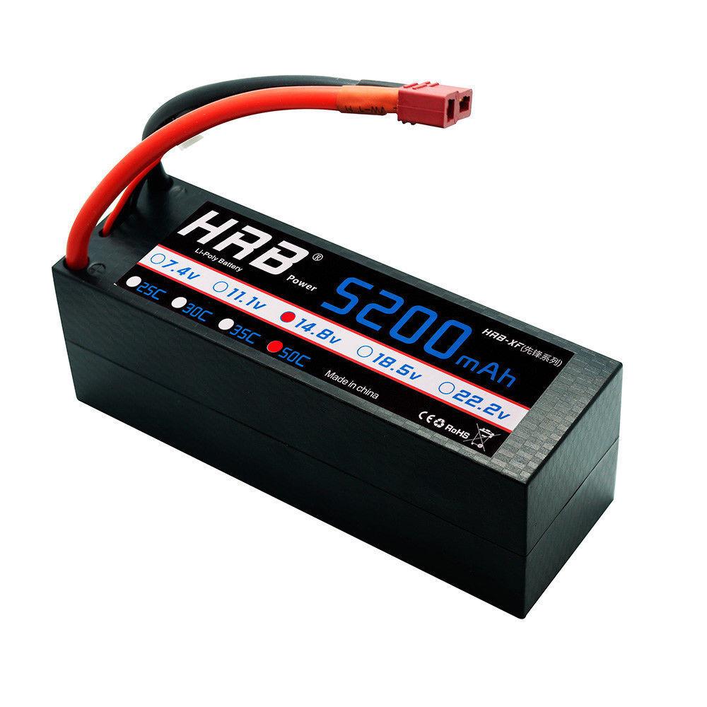 HRB 4S 14.8V 5200mAh RC Batería Lipo 50C 100C estuche duro para Coche Camión Barco Teledirigido
