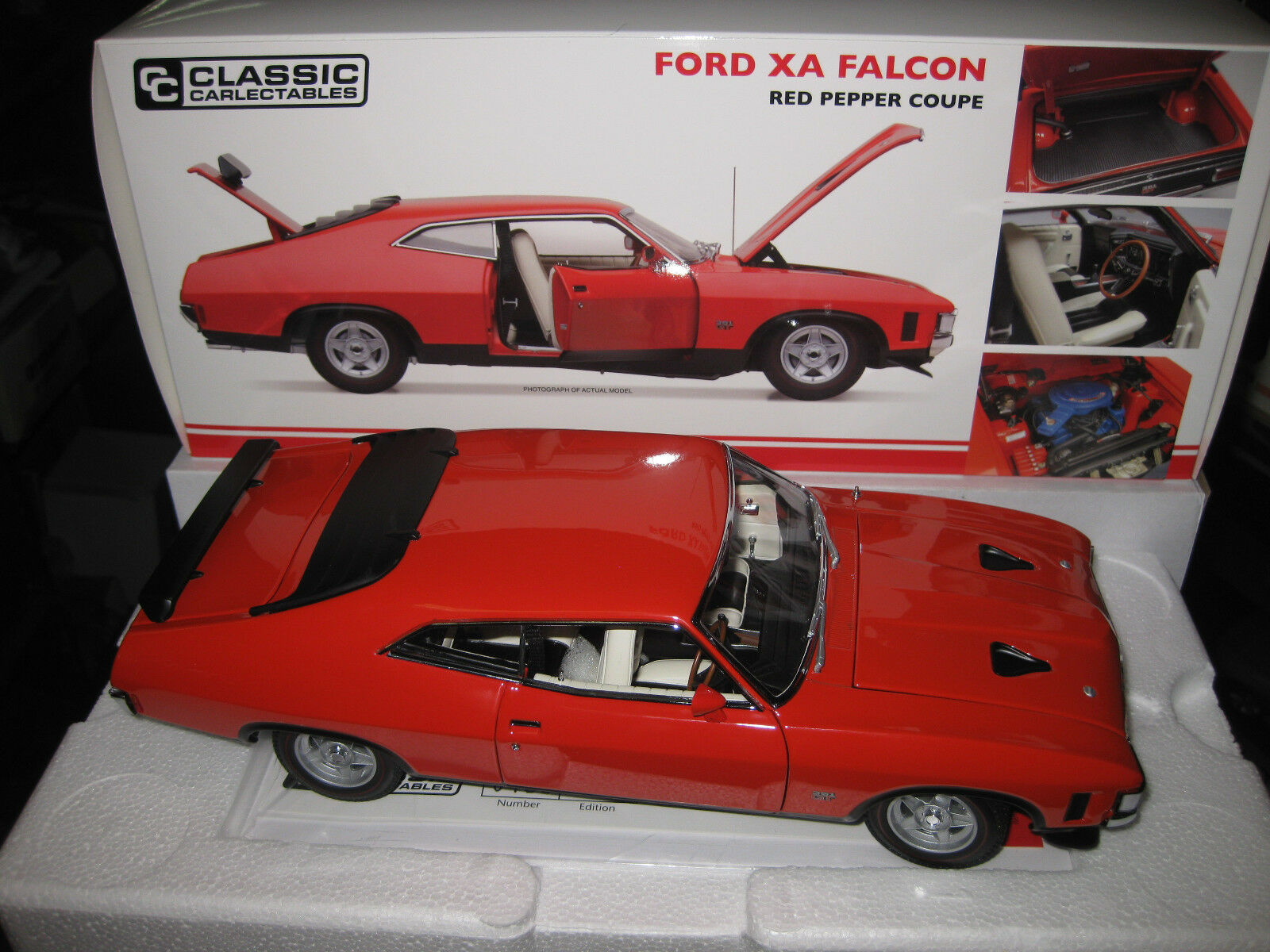 1 18 CLASSIC CARLECTABLES  FORD FALCON XA COUPE RED PEPPER LTD ED OF 650