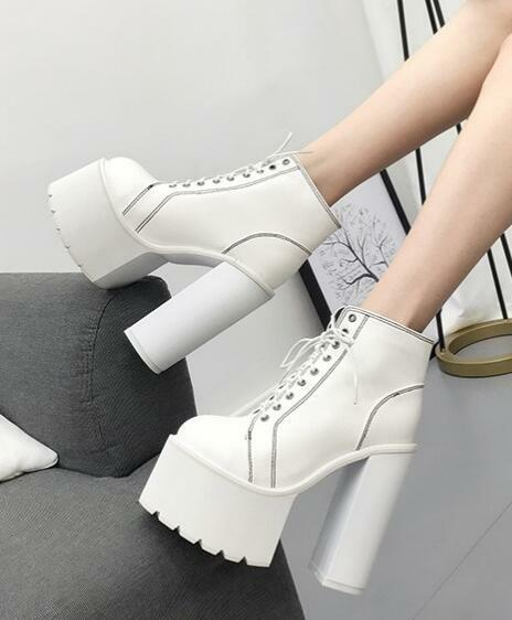 Womens High Block Heels Round Toe Platform Ankle Riding Boots Dance Shoes E814