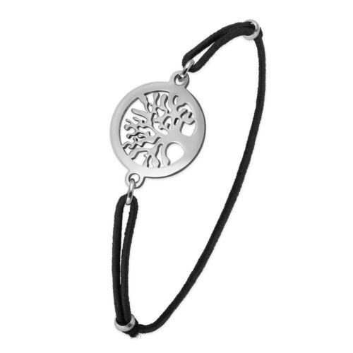 Armband Gummiband Lebensbaum schwarz silber dünn Textilband Damen dehnbar