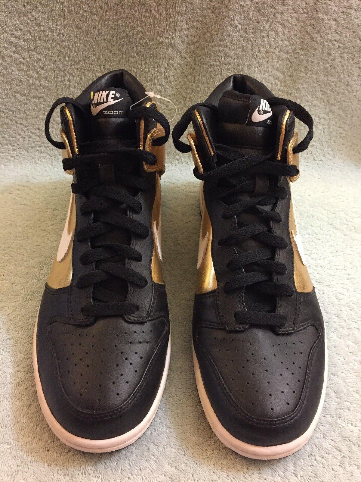 Nike Zoom Dunk 2007 DS Black   HIGH PREMIUM Black gold 317892-711 Men's Sz 10