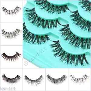 1-10-Pairs-Long-Natural-Thick-Handmade-False-Eyelashes-Eye-Lashes-Magnet-or-Mink