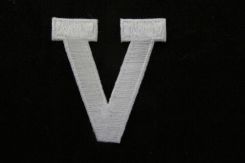 "1-3//4/"" White Letter V Embroidery Iron On Appliqué Patch//New"