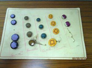 17-uralte-Knoepfe-auf-Pappe-wohl-Vertreter-Muster-Tafel-div-Farben-S20