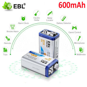 EBL-2x-600mAh-Li-on-Lithium-6F22-PP3-9V-9Volt-Rechargeable-Batteries-For-MIC-RC