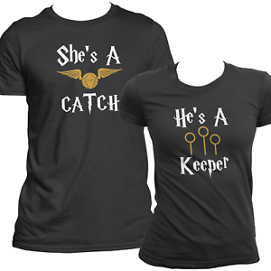 ce8b82fca8 Catch & Keeper Harry Potter Matching T Shirts Set For Couples His ...