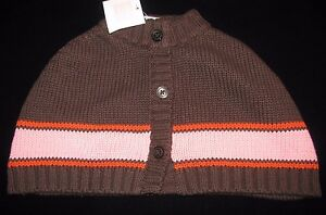 Details about Janie & Jack AUTUMN CLASSICS Brown Striped Capelet Poncho  Sweater Baby Girl 6-12