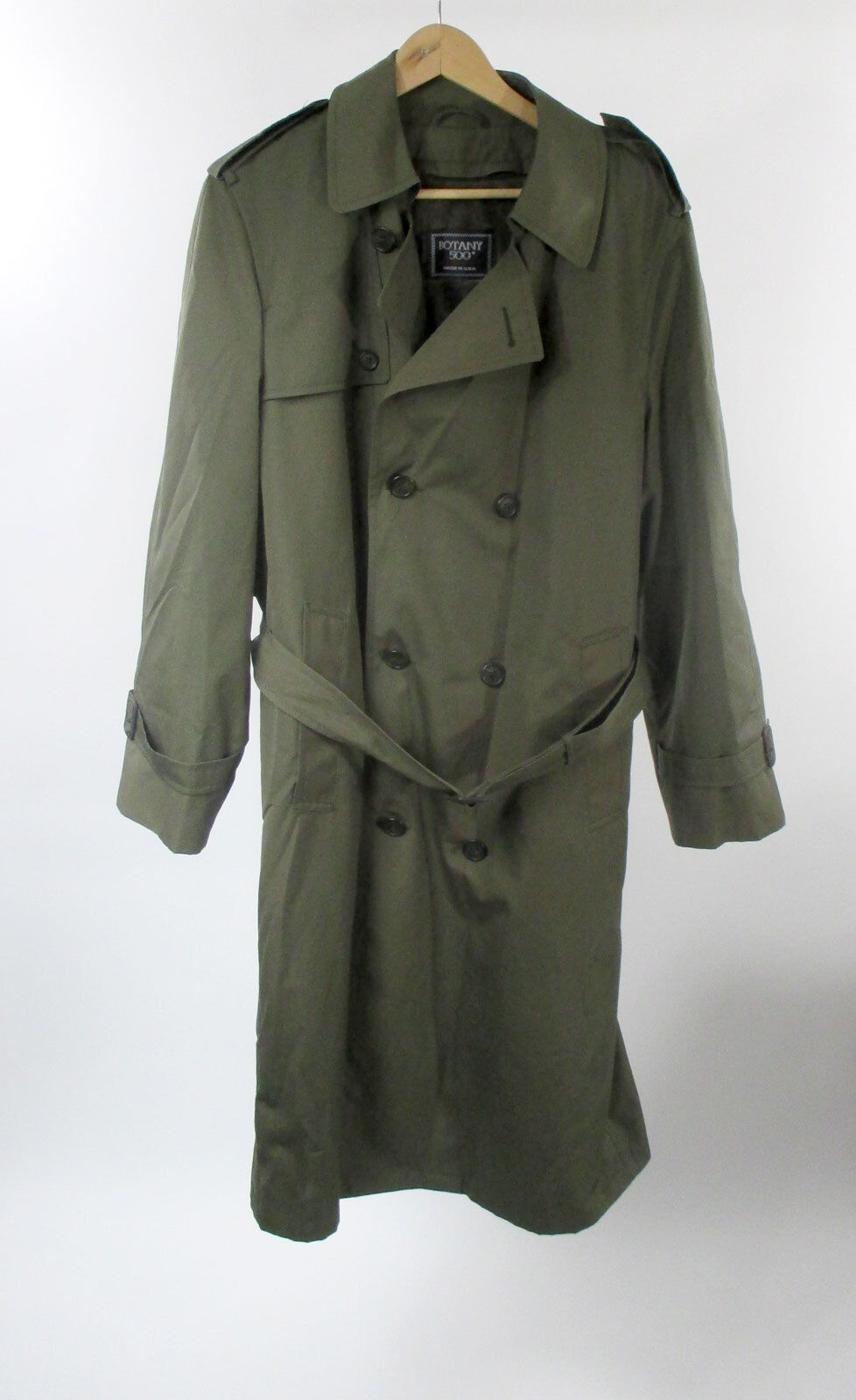 Botany 500 Olive Grün Removable Faux Fur Liner Trench Coat Sz 38R Made in  USA