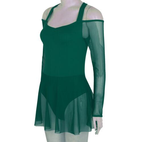 Women Ballet Dance Dress Leotard Off The Shoulder Gymnastics Costume performance