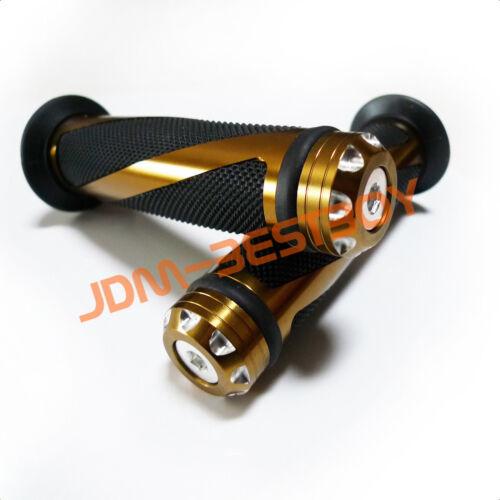 7//8/'/' Titianium Gold Aluminum CNC Alloy Chrome Bike Rubber Handlebar Hand Grip