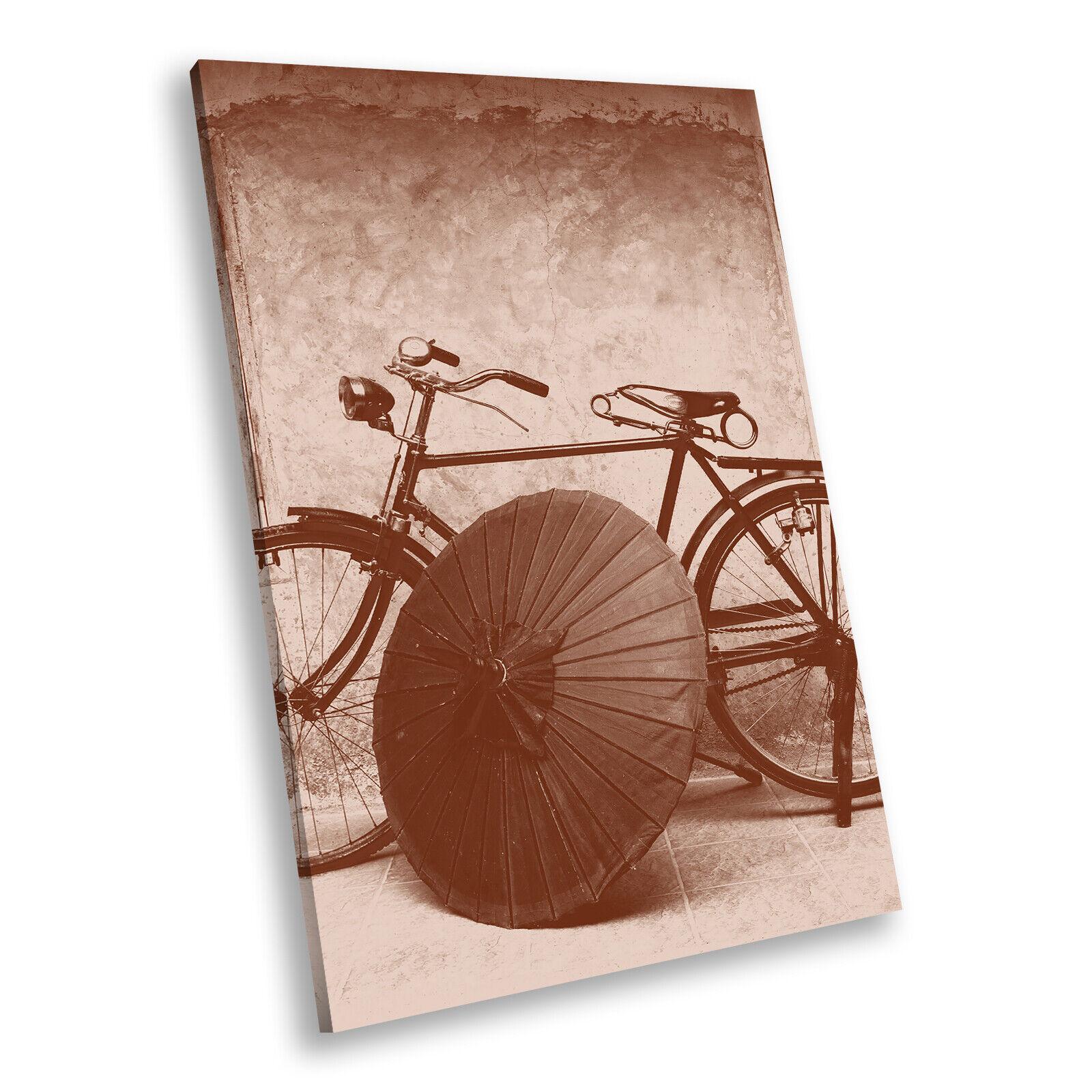 Vintage braun Sepia Bike Portrait Scenic Canvas Wall Art Large Picture Prints