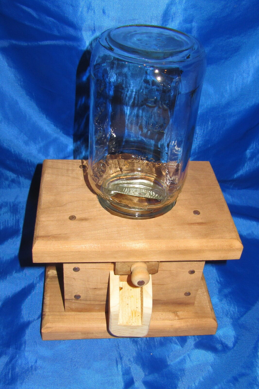 HANDMADE WOOD Ball Mason Jar Candy Food Gumball Nut DISPENSER Mint