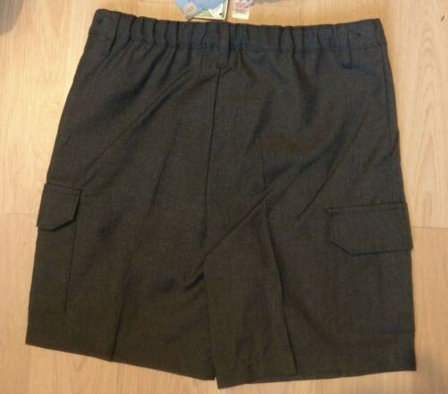 Age 11 TU Boys GREY SCHOOL SHORTS Easy Care Combat Pocket Adjustable 10-11yr