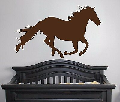 Horse Running - Wall Vinyl Decal Sticker GirlsRoom Decor Rodeo Cowgirl Horse Art