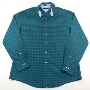 7ab8ad07 Image is loading Tommy-Hilfiger-Men-Button-Front-Plaid-Heritage-Oxford-