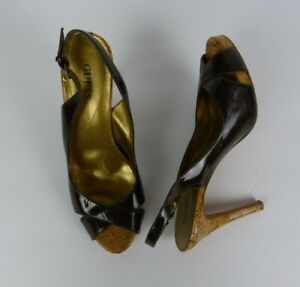 GUESS Brown Leather High Heels Shoes Pumps Peep Toe Women's Size 8 1/2 M