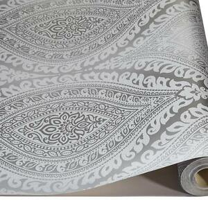 Grandeco Kismet Damask Pattern Wallpaper Metallic Glitter Motif Art ...