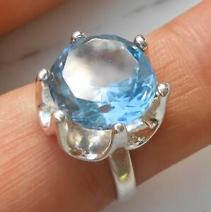 4-97ctw-AQUAMARINE-TAXCO-MEXICO-ESTATE-VINTAGE-925-STERLING-SILVER-RING-SIZE-6