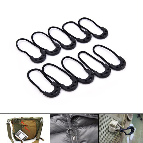 10X EDC Black Zip Zipper Pulls Cord Rope For Outdoor Travel Clothing Backpack U*