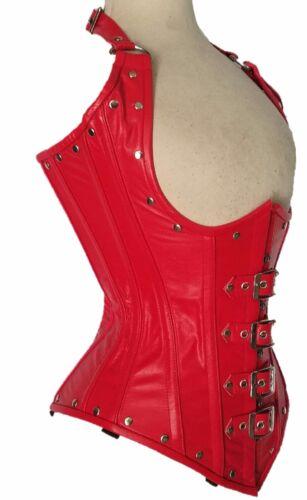 il lacci pelle del busto Corpo corpo in formano rossa il busto vera in con sotto acciaio che BqHOp