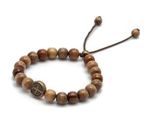 Catholic Saint St Benedict Bracelet Wooden Beads Mens Womens Religious Gift