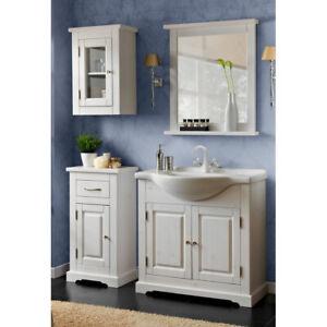 Details zu Landhaus Badmöbel Set massiv weiß 85cm Keramik Waschtisch  Badezimmer-Schränke