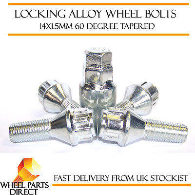 Black Locking Wheel Bolts 14x1.5 Nuts for VW Scirocco R 10-16