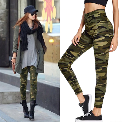 Womens Full Length Leggings trousers camouflage checker checkered camo Military