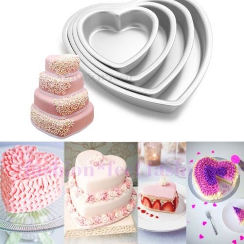 "Aluminum Cake Chocolate Pan 3D Heart Mold 3'' 4"" 5"" Heart Mould"