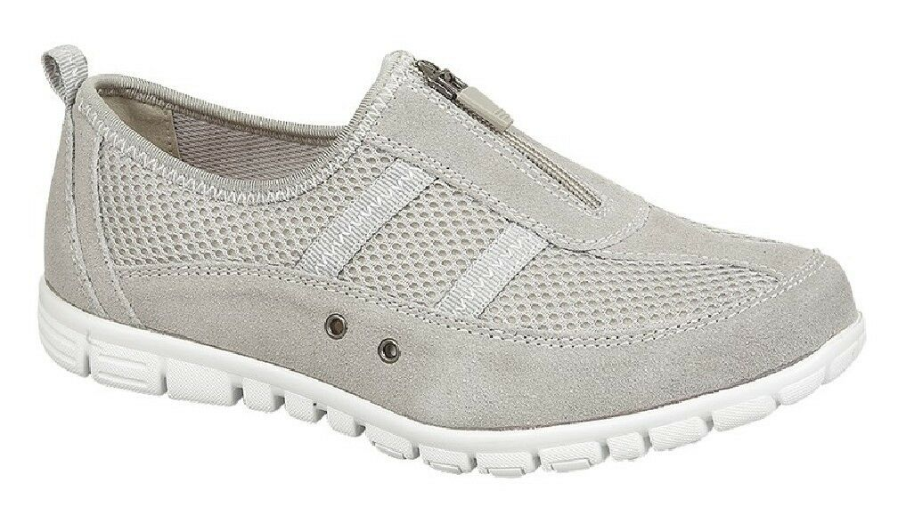 Boulevard Leisure X Wide EEE Fitting Trainer shoes Grey Suede Textile Mesh
