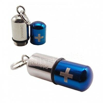 Silver Blue Capsule Pill Holder Stainless Steel Pendant + Necklace SK35