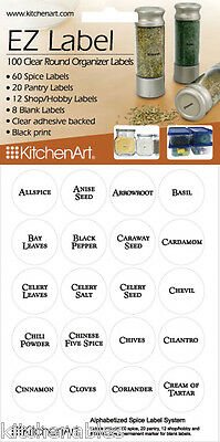 """100 Clear Round 1"""" Spice Pantry Hobby Adhesive Labels w/ Black Print -KitchenArt"""