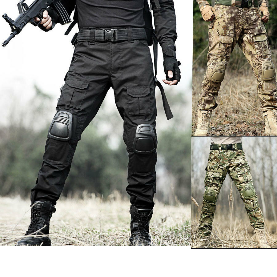 Military Tactical Pants Combat Frog Trousers Uniform Knee Cap Pad Scratch-proof