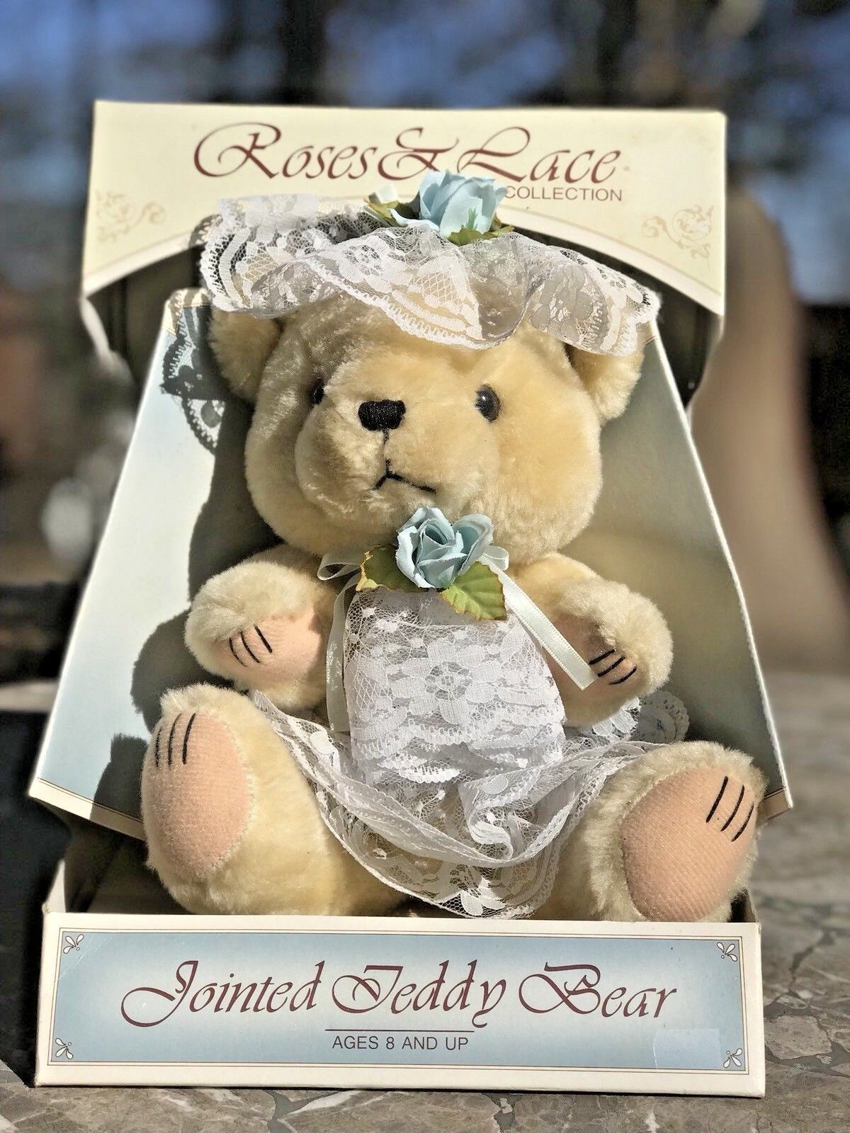 Vintage rosaS & LACE COLLECTION Teddy Bear with Lace-jointedSPECIAL EDITION