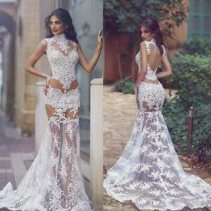 Sexy-See-Through-Mermaid-Wedding-Dress-Sheer-Applique-Lace-Bridal-Gown-4-6-8