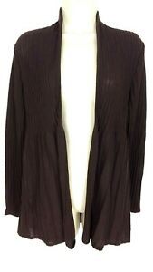Eileen-Fisher-Cardigan-Sweater-XS-Brown-Ribbed-Wool-Lightweight-Open-Front