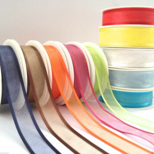 PER 3 metres sheer ribbon with satin edge 15mm or 25mm lots of colours