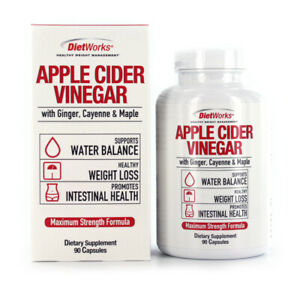 DietWork Apple Cider Vinegar Capsules with Ginger Cayenne Maple Maximum Strength
