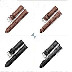 100% Brand New Black Brown Watch Strap Band Stainless Steel Tang Buckle