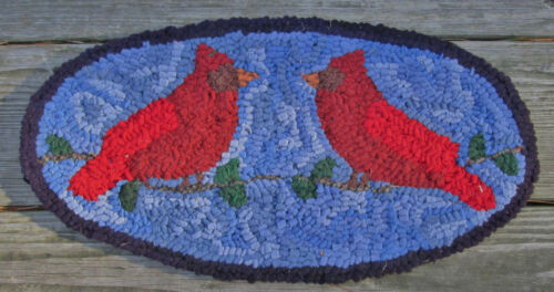 PAIR OF CARDINALS Oval Primitive Rug Hooking kit with #8 cut wool strips