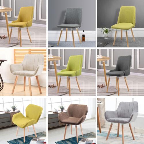 Upholstered Dining Chair Armchair Wooden Legs Kitchen Dining Room Velvet//Fabric
