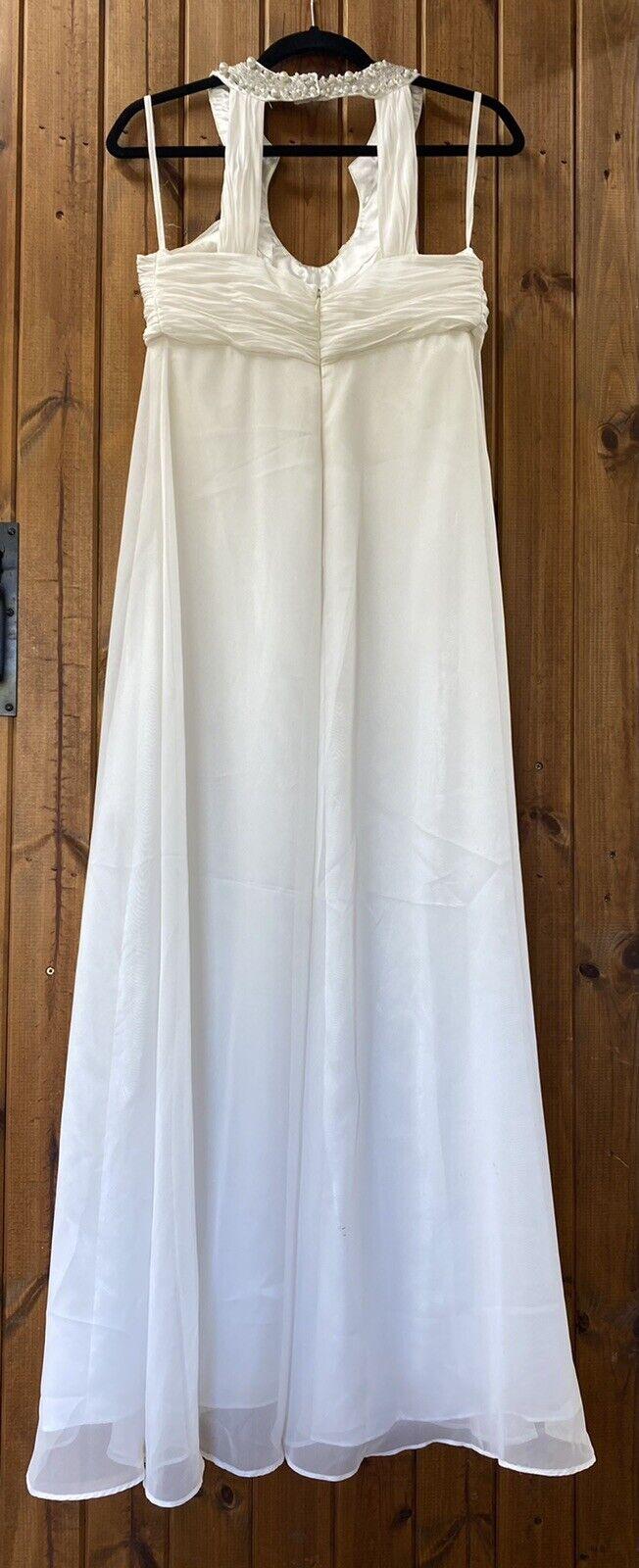 BNWOT Laura Scott Evening/ Prom/ Wedding Dress Soft White Embellished UK 10-12