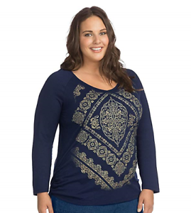 Just-My-Size-Women-039-s-Plus-Size-Long-Sleeve-Printed-V-Neck-T-Shirt-Size-4X