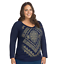 Just-My-Size-Women-039-s-Plus-Size-Long-Sleeve-Printed-V-Neck-T-Shirt-Size-4X thumbnail 1