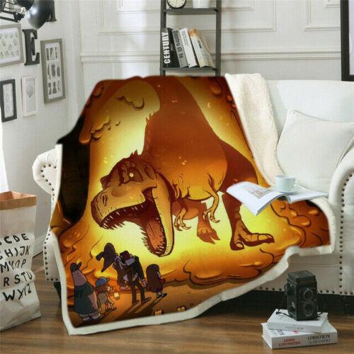 3D Print Sherpa Blanket Sofa Couch Quilt Cover Throw Fleece 3D Dinosaur Blanket