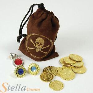 marron-pirate-piece-CHASSE-anneaux-bijoux-sac-accessoire-deguisement