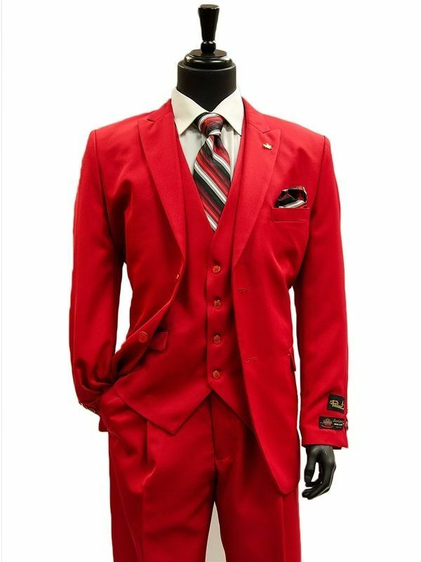 NWT LUXURY Herren SUIT BY FALCONE 3869-005 ROT COLOR 3PC SET REG.399