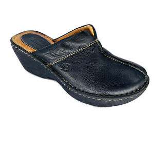 born black leather clogs size 7 m 38 casual shoes  ebay